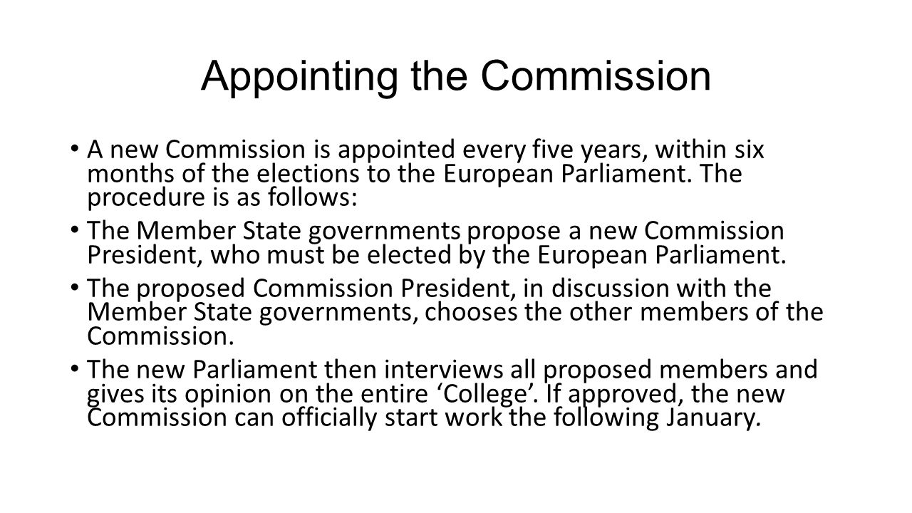 Appointing the Commission