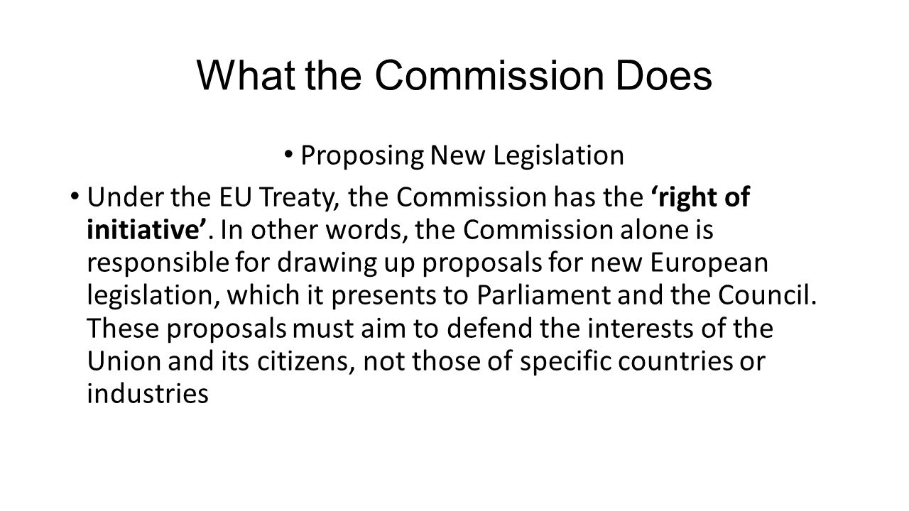 What the Commission Does