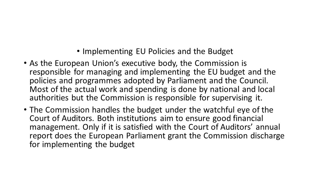 Implementing EU Policies and the Budget