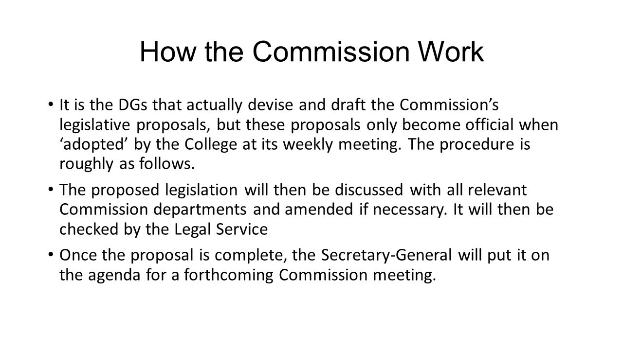 How the Commission Work