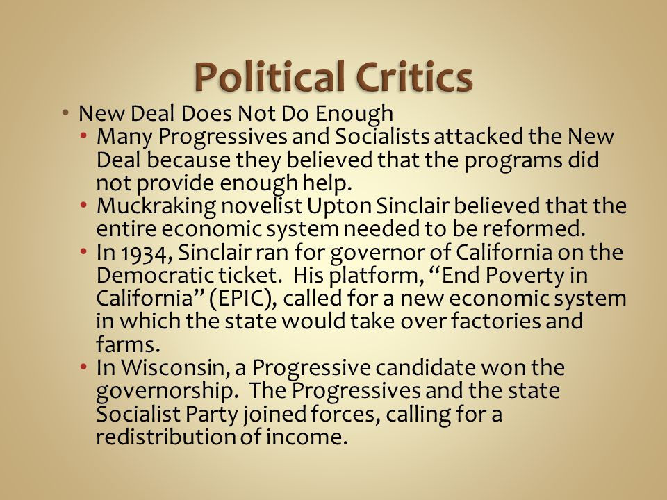 Political Critics New Deal Does Not Do Enough