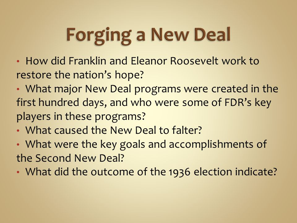 Forging a New Deal How did Franklin and Eleanor Roosevelt work to restore the nation's hope