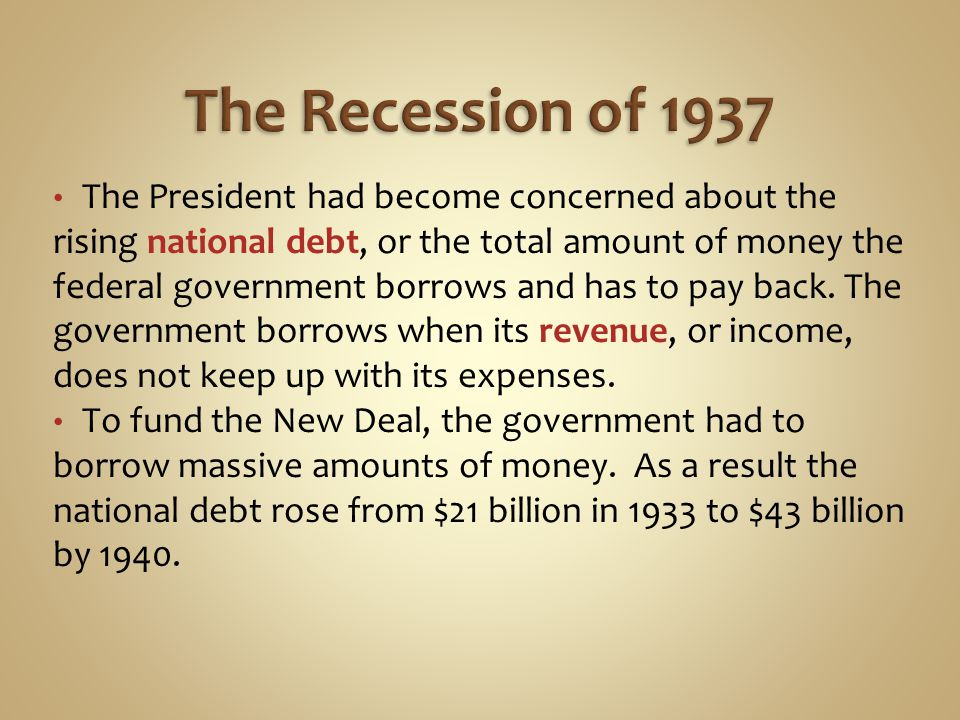 The Recession of 1937
