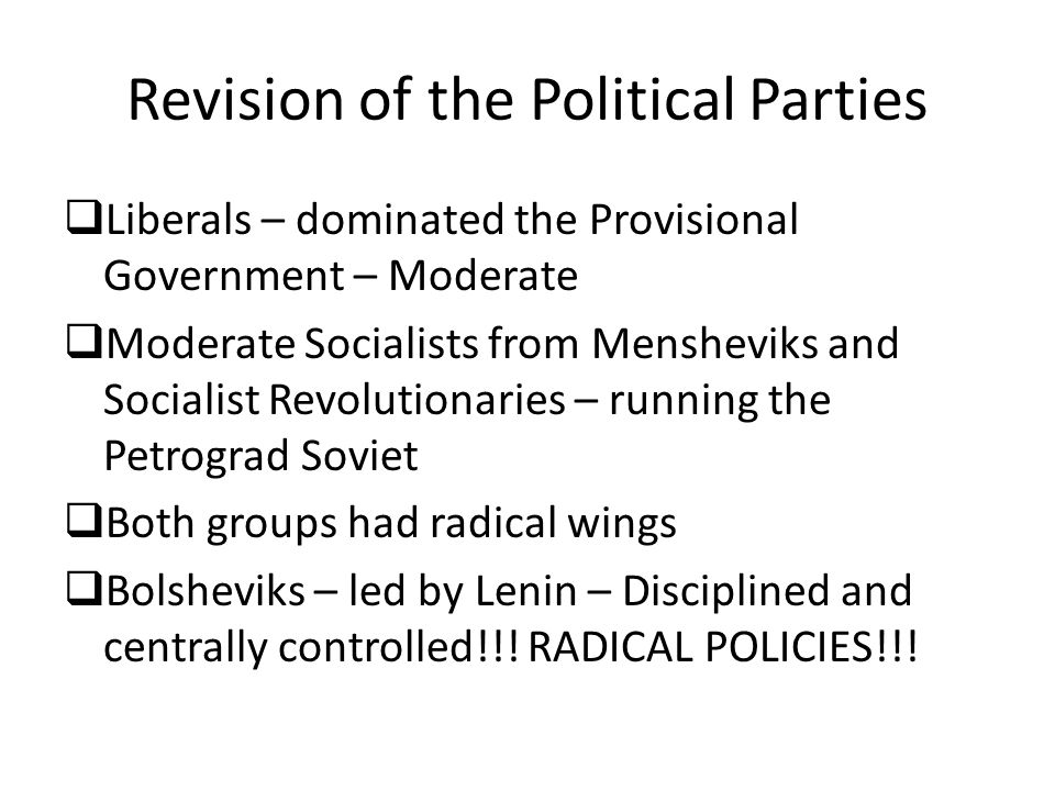 Revision of the Political Parties