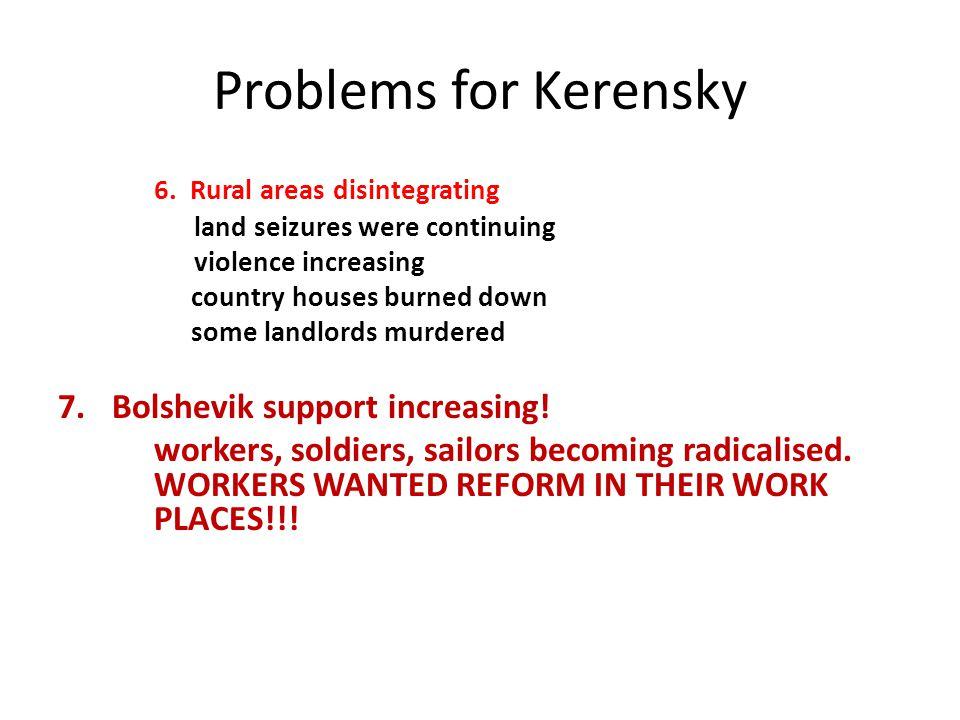 Problems for Kerensky 6. Rural areas disintegrating
