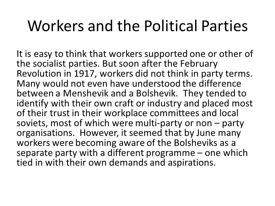 Workers and the Political Parties