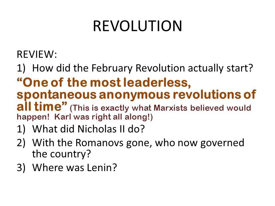 REVOLUTION REVIEW: How did the February Revolution actually start