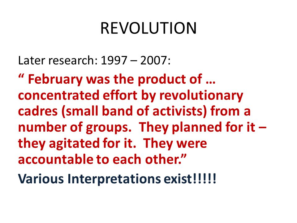 REVOLUTION Later research: 1997 – 2007: