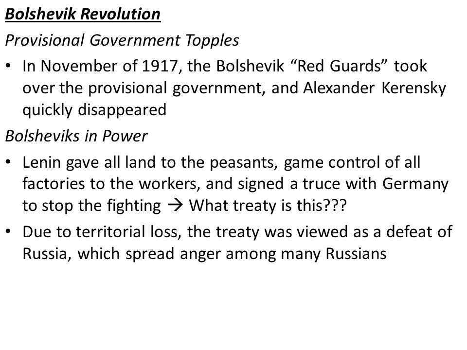 Bolshevik Revolution Provisional Government Topples.