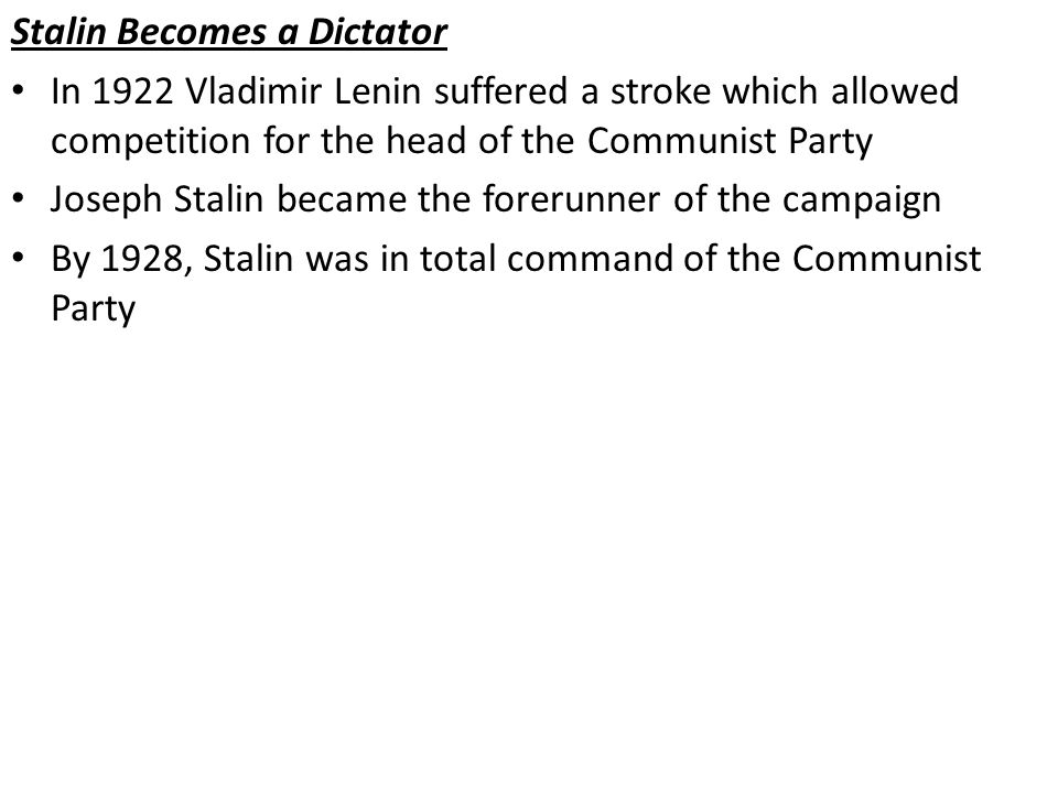 Stalin Becomes a Dictator
