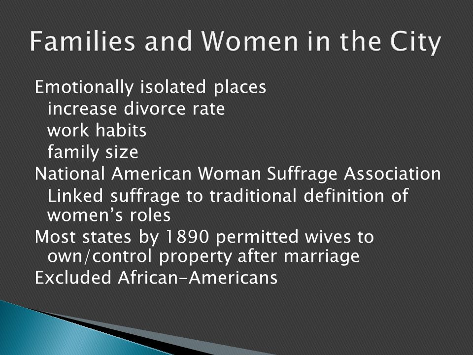 Families and Women in the City