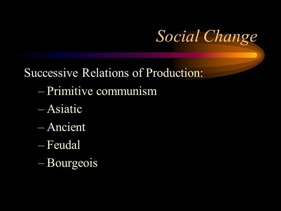 Social Change Successive Relations of Production: Primitive communism