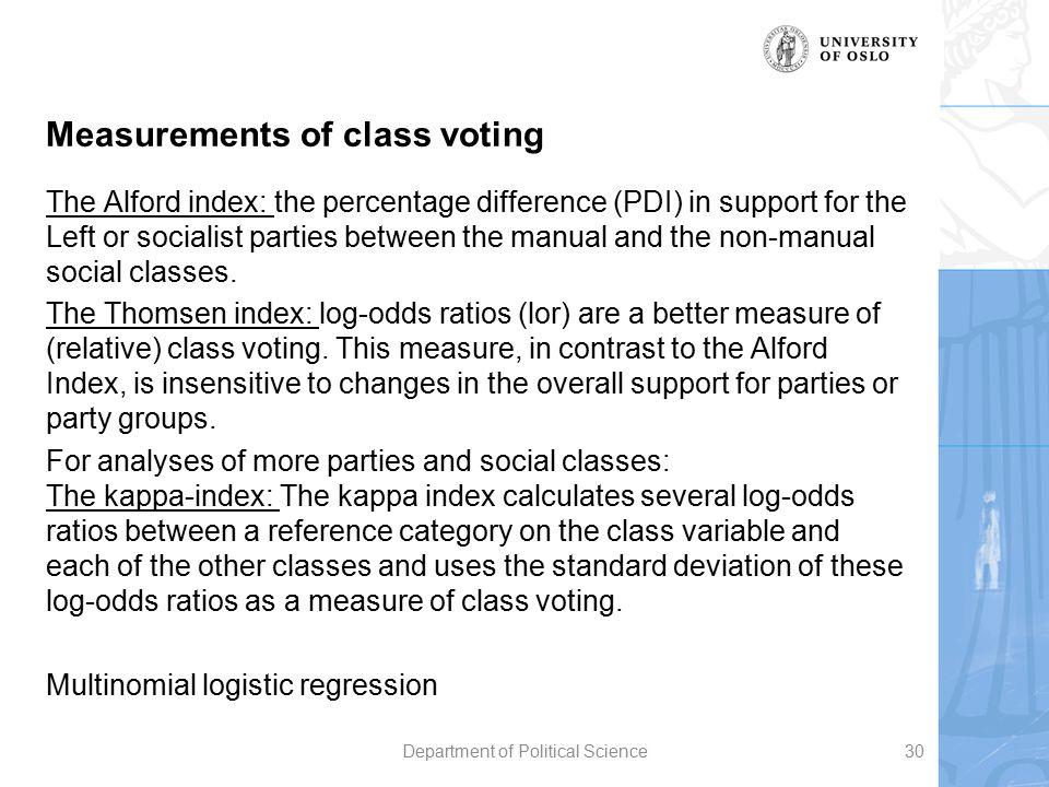 Measurements of class voting