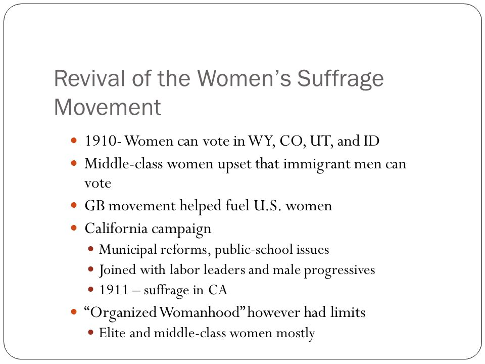 Revival of the Women's Suffrage Movement