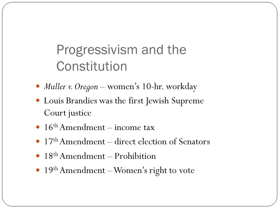 Progressivism and the Constitution