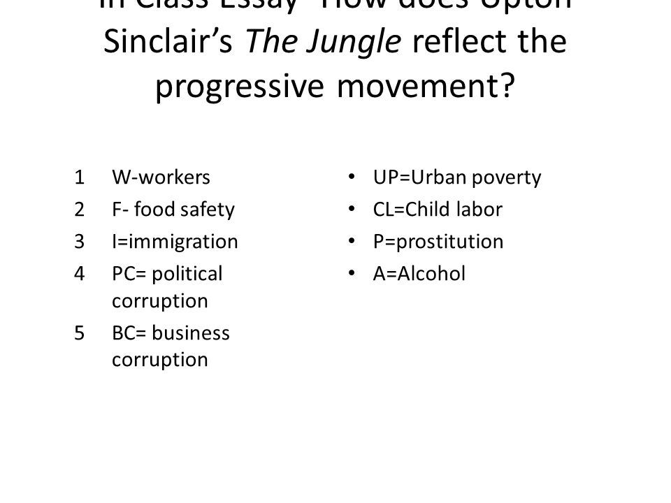 The Jungle, Upton Sinclair - Essay