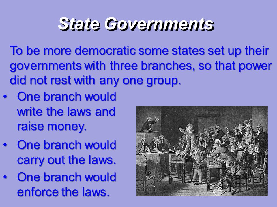 State Governments To be more democratic some states set up their governments with three branches, so that power did not rest with any one group.