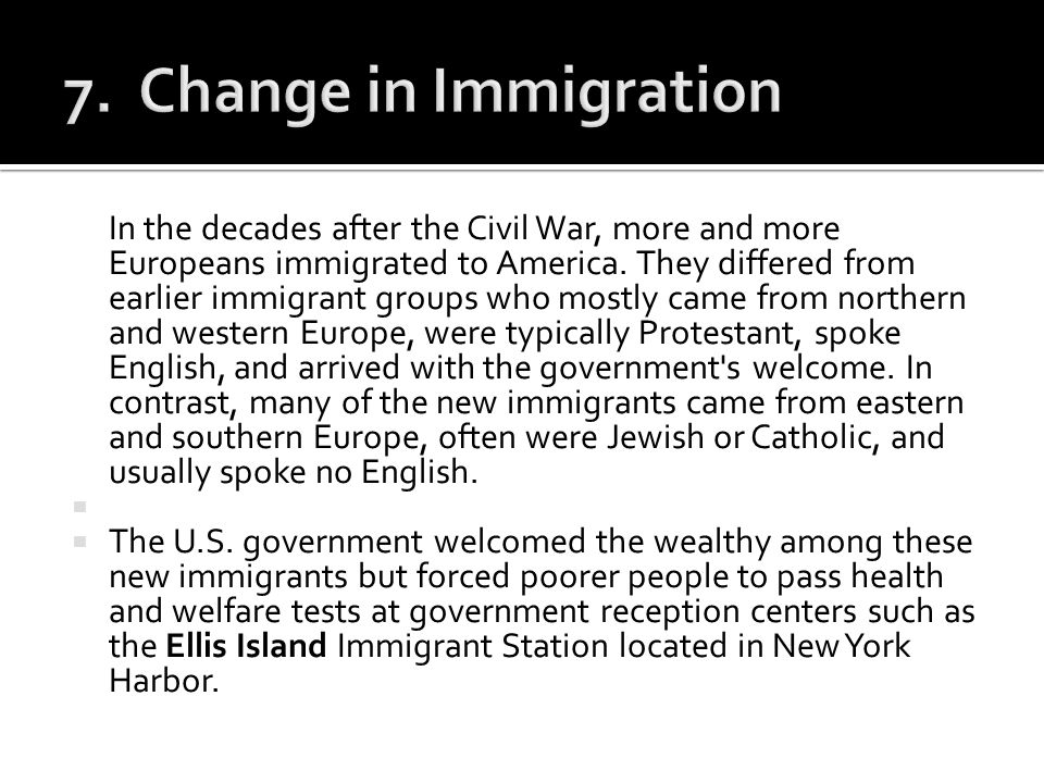 7. Change in Immigration