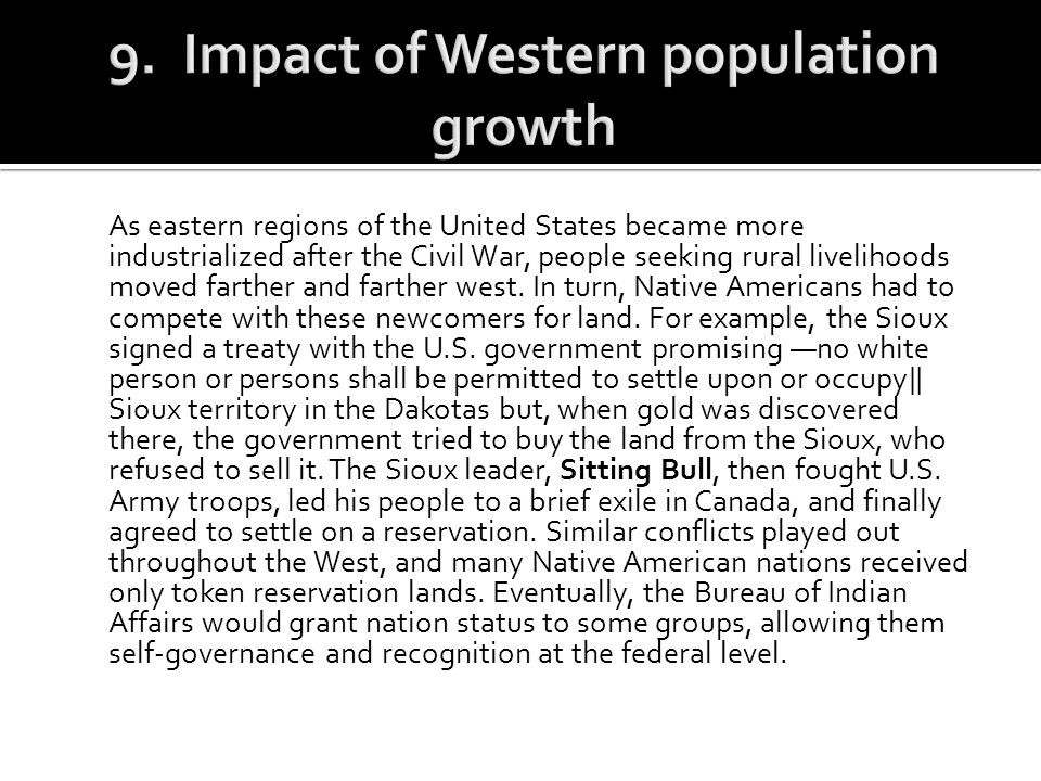 9. Impact of Western population growth