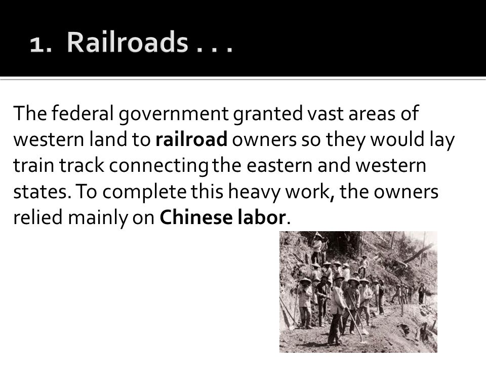 1. Railroads . . .