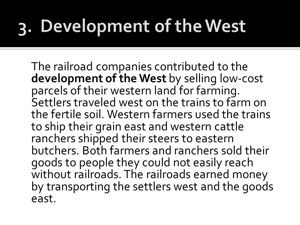 3. Development of the West