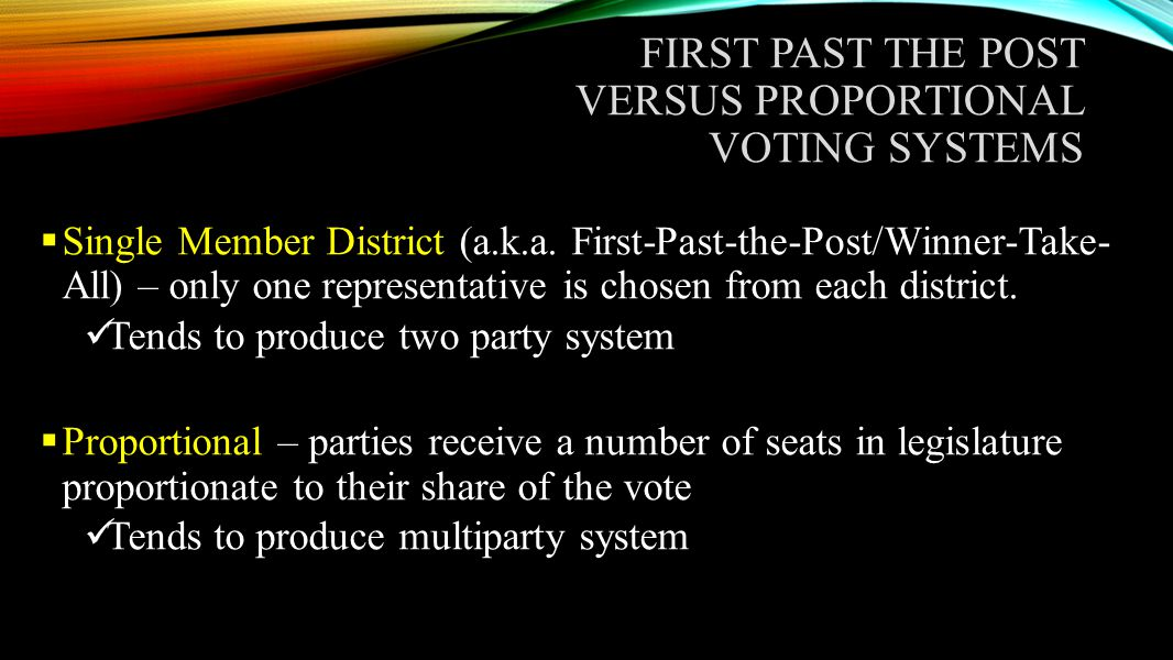 first past the post versus proportional voting systems