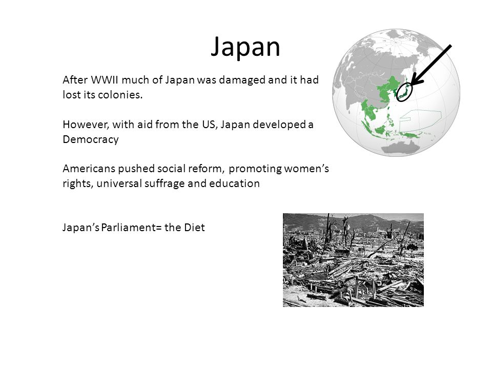 Japan After WWII much of Japan was damaged and it had lost its colonies. However, with aid from the US, Japan developed a Democracy.