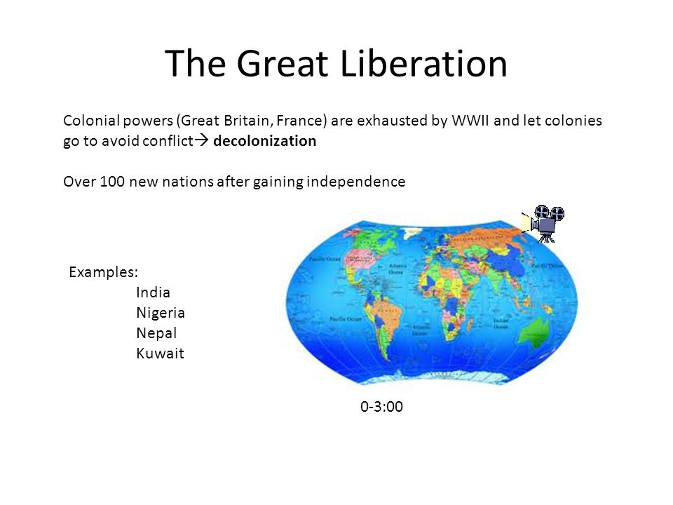The Great Liberation Colonial powers (Great Britain, France) are exhausted by WWII and let colonies go to avoid conflict decolonization.