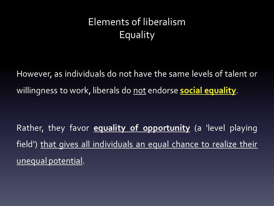 Elements of liberalism Equality