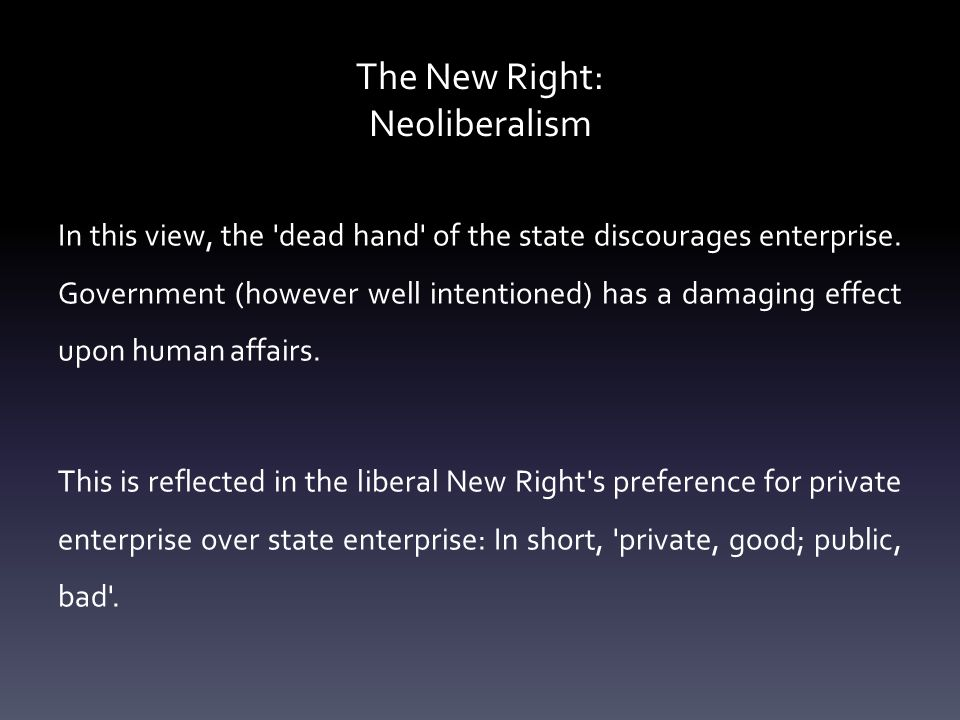 The New Right: Neoliberalism