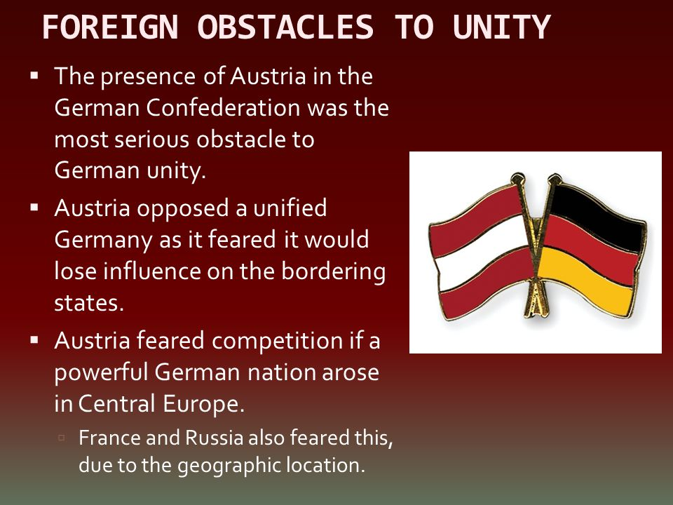 FOREIGN OBSTACLES TO UNITY