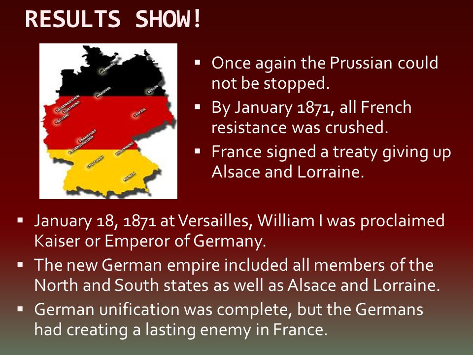 RESULTS SHOW! Once again the Prussian could not be stopped.