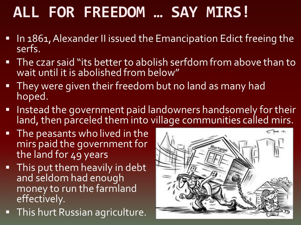 ALL FOR FREEDOM … SAY MIRS!