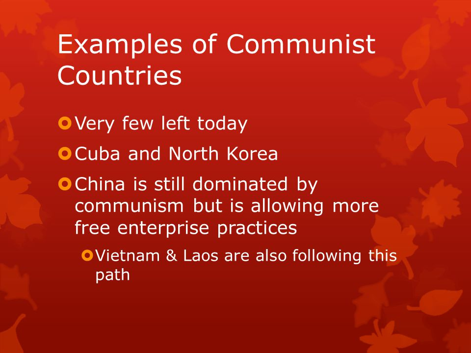 Examples of Communist Countries