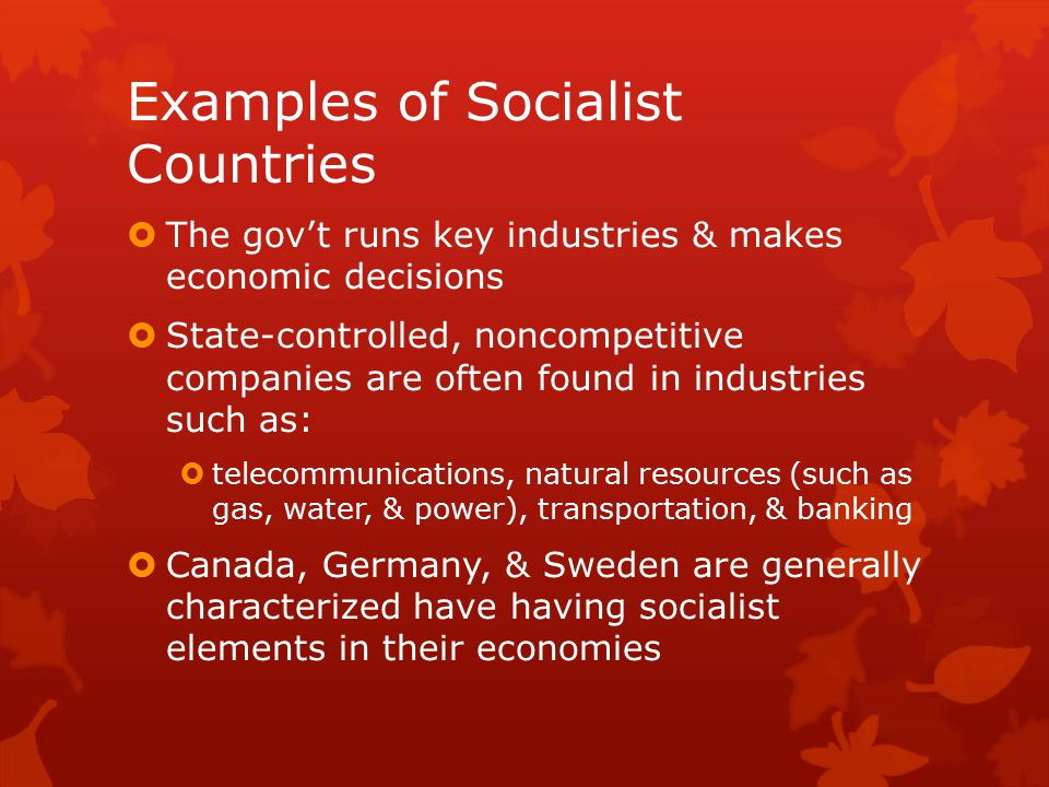 Examples of Socialist Countries