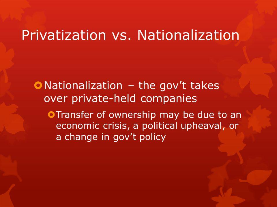Privatization vs. Nationalization