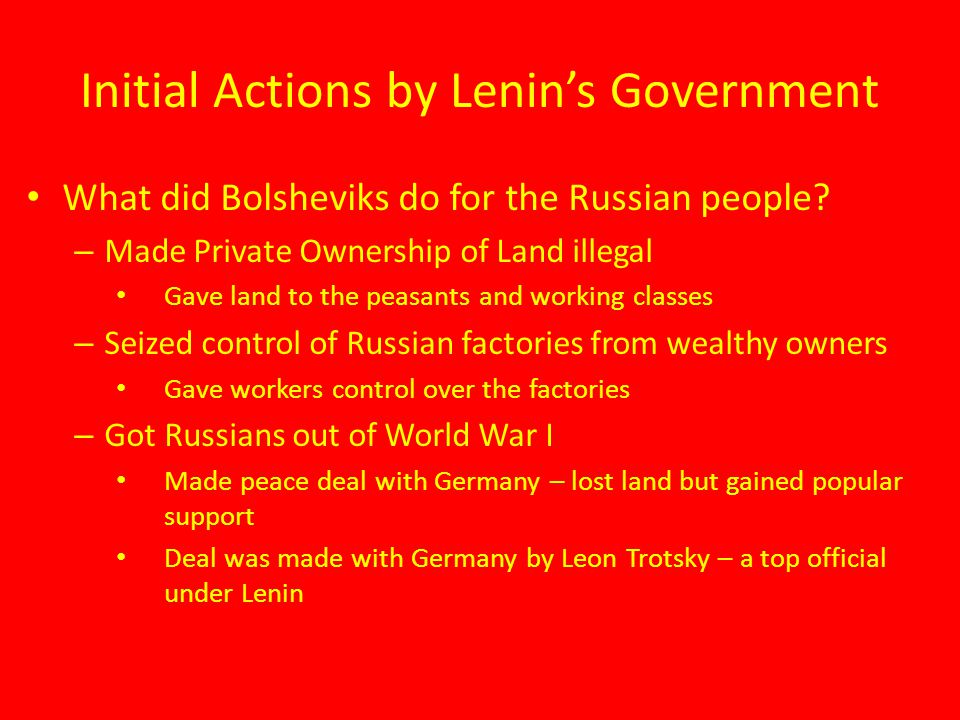 Initial Actions by Lenin's Government