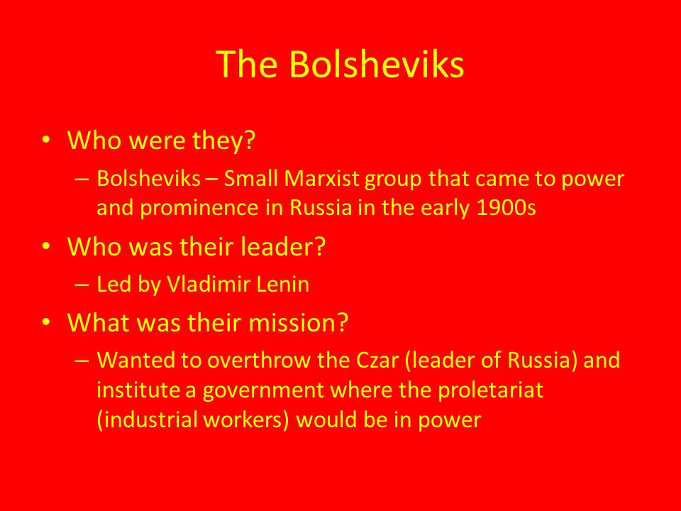 The Bolsheviks Who were they Who was their leader