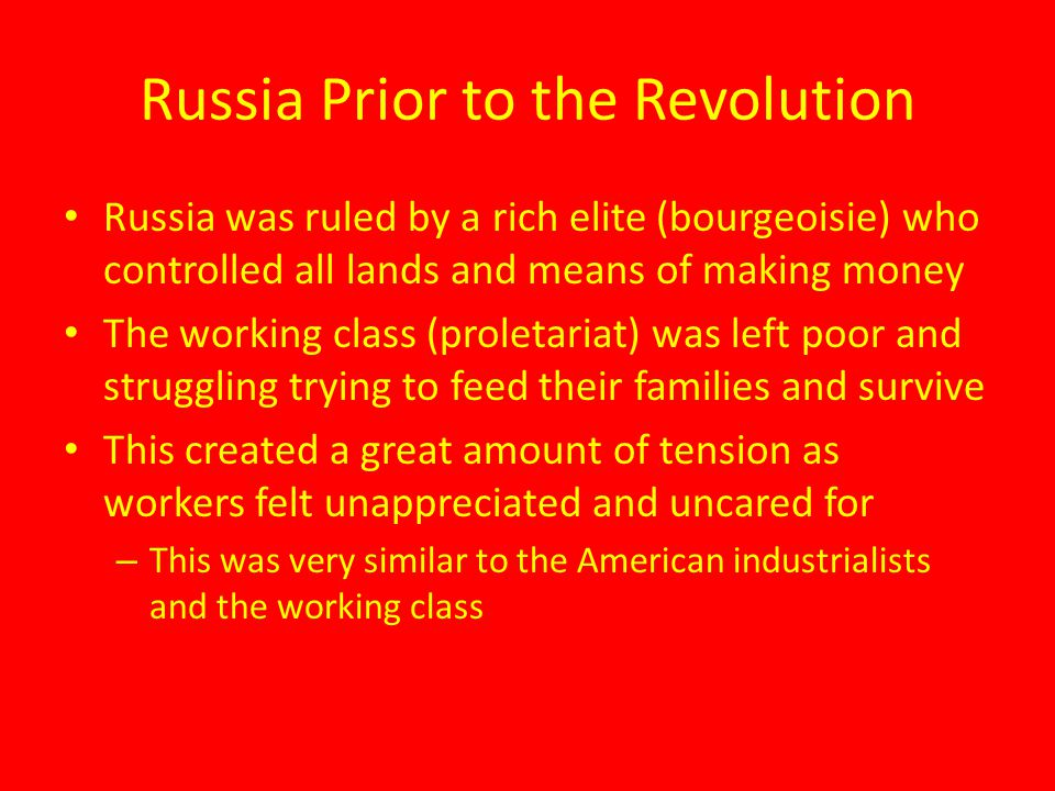 Russia Prior to the Revolution