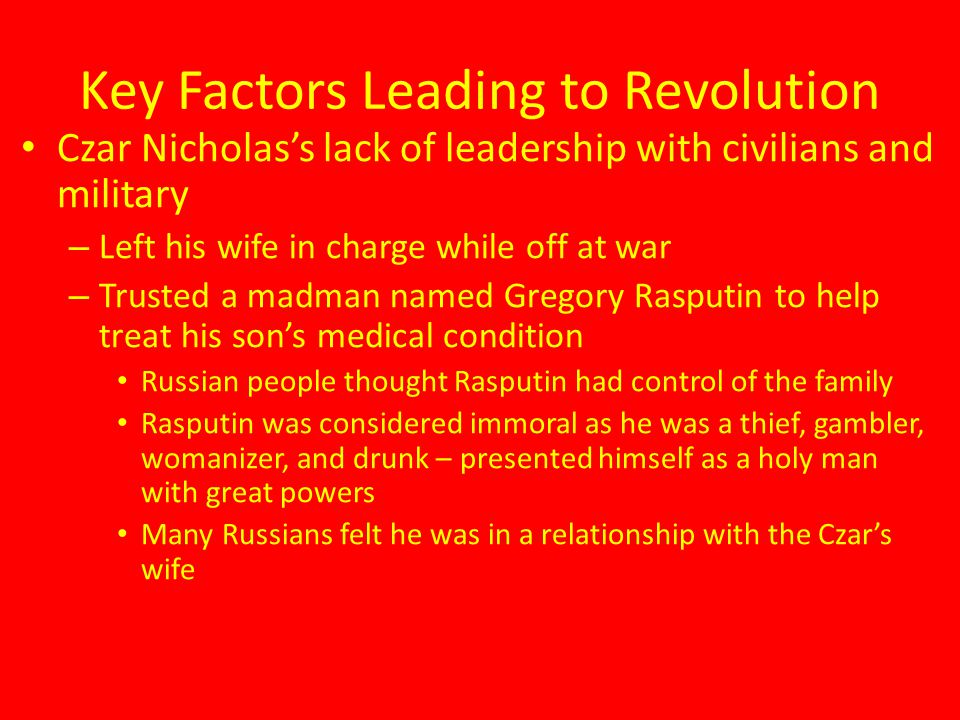 Key Factors Leading to Revolution
