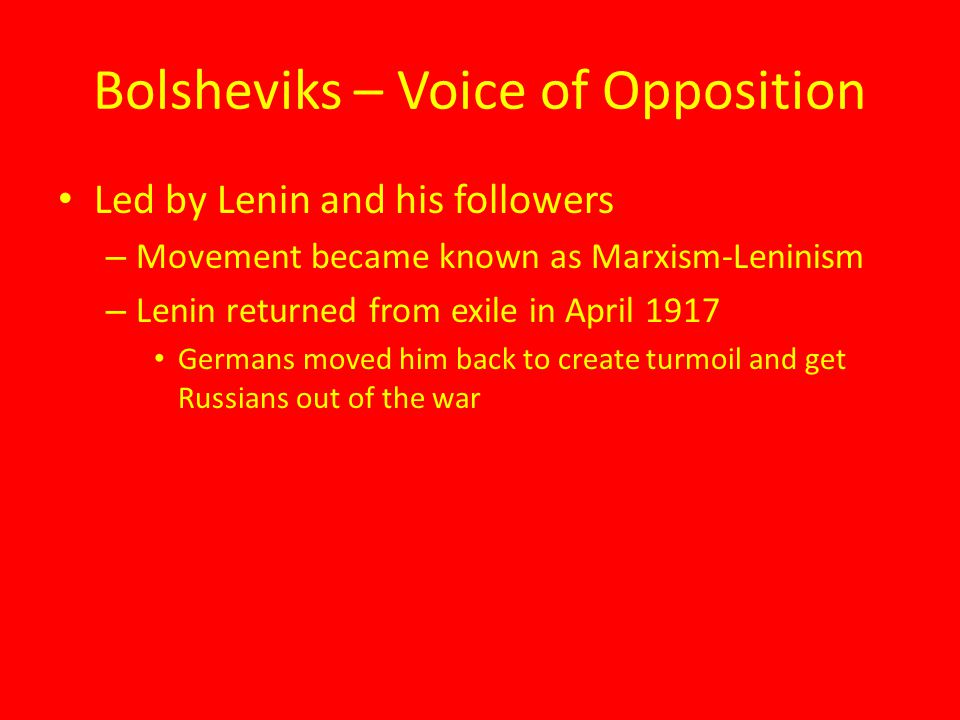 Bolsheviks – Voice of Opposition