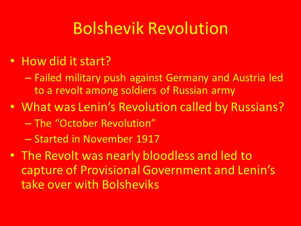 Bolshevik Revolution How did it start