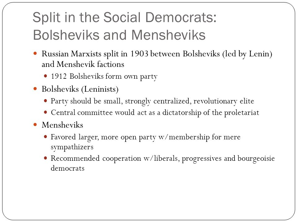 Split in the Social Democrats: Bolsheviks and Mensheviks