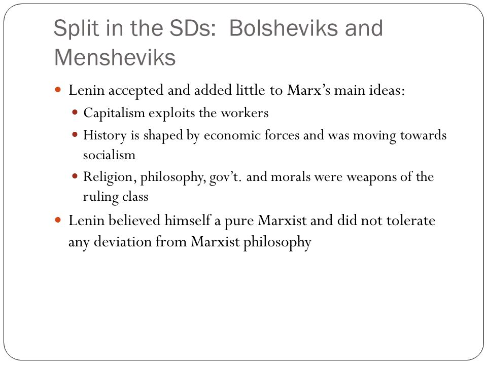 Split in the SDs: Bolsheviks and Mensheviks