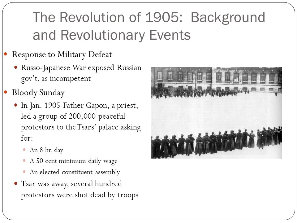 The Revolution of 1905: Background and Revolutionary Events