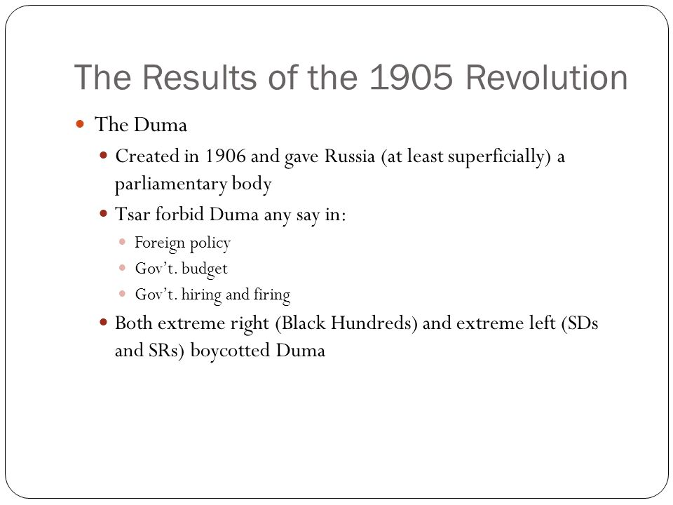 The Results of the 1905 Revolution
