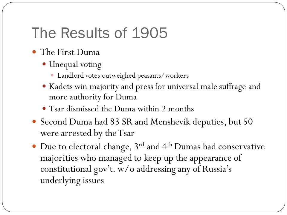 The Results of 1905 The First Duma