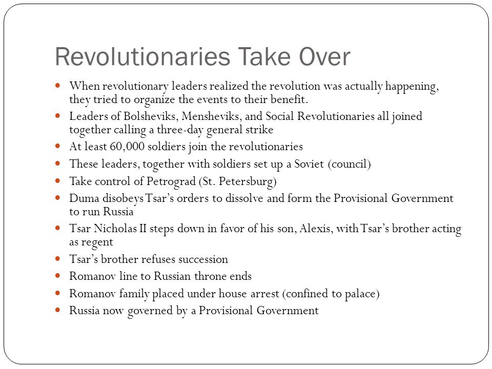 Revolutionaries Take Over