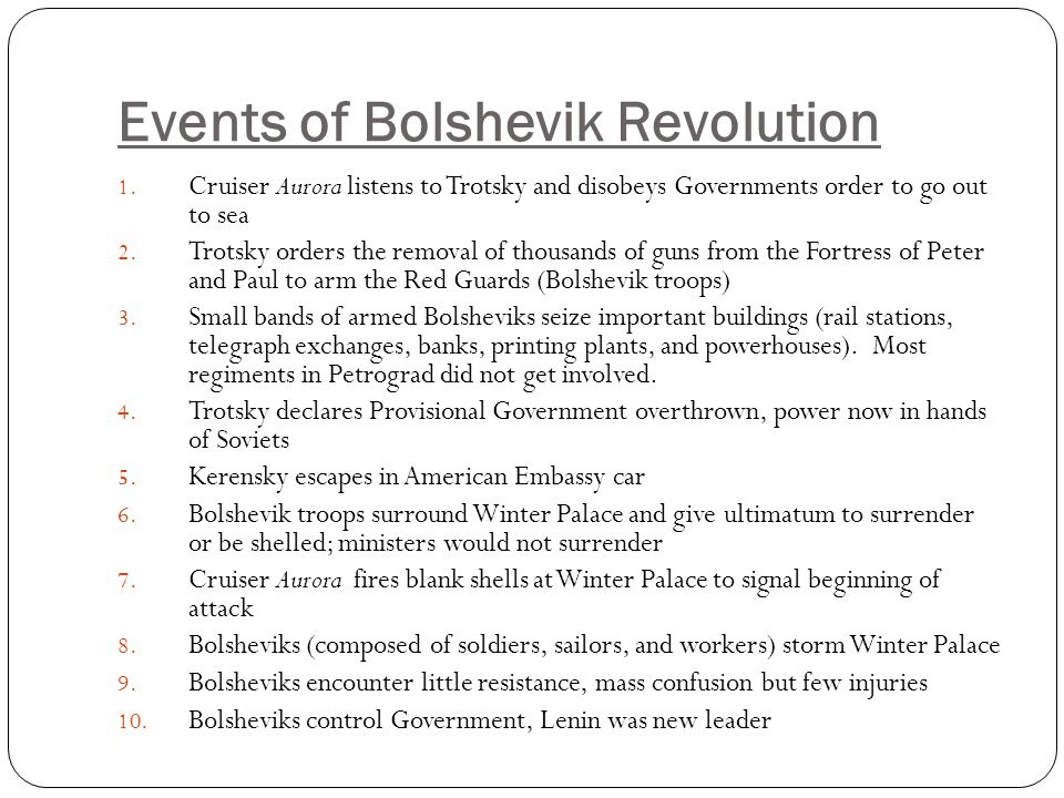 Events of Bolshevik Revolution