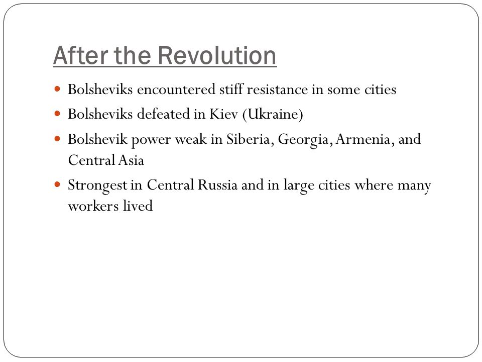 After the Revolution Bolsheviks encountered stiff resistance in some cities. Bolsheviks defeated in Kiev (Ukraine)